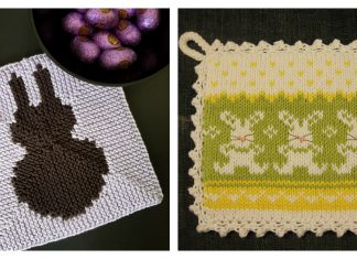 Bunny Potholder Free Knitting Pattern