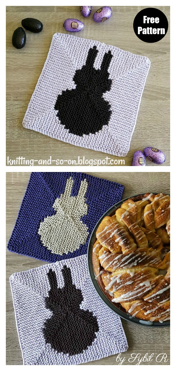 Easter Bunny Potholder Free Knitting Pattern
