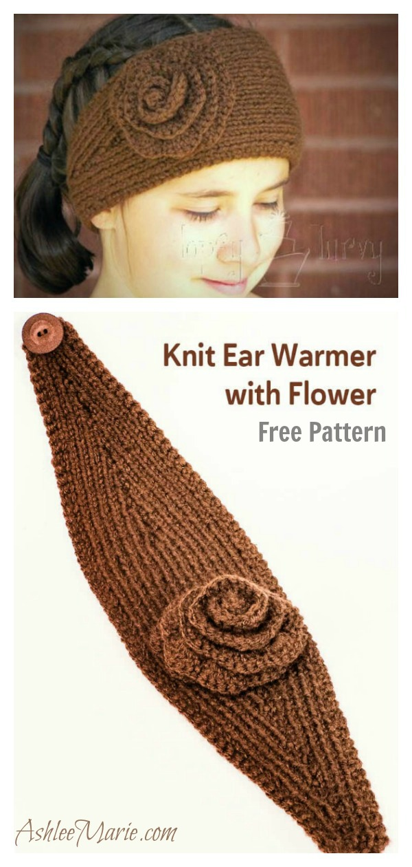 Easy Head Wrap with Flower Free Knitting Pattern