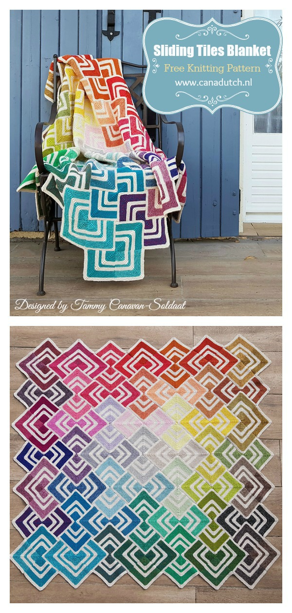 Overlapping Sliding Tiles Blanket Free Knitting Pattern