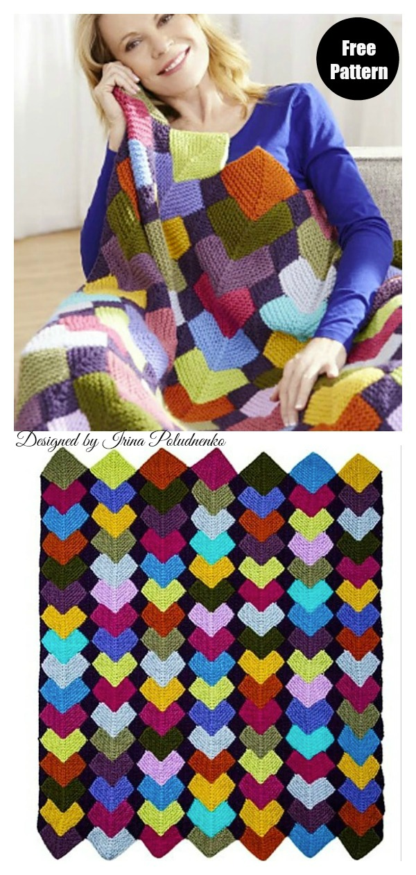 Overlapping Squares Afghan Blanket Free Knitting Pattern