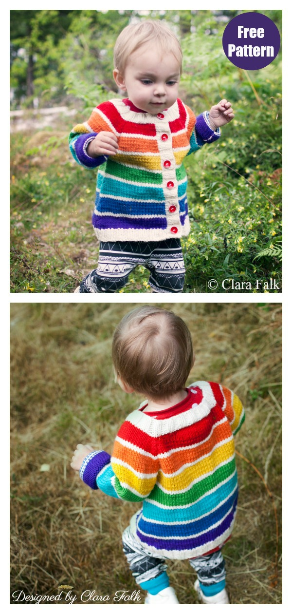 Rainbow Cardigan Free Knitting Pattern