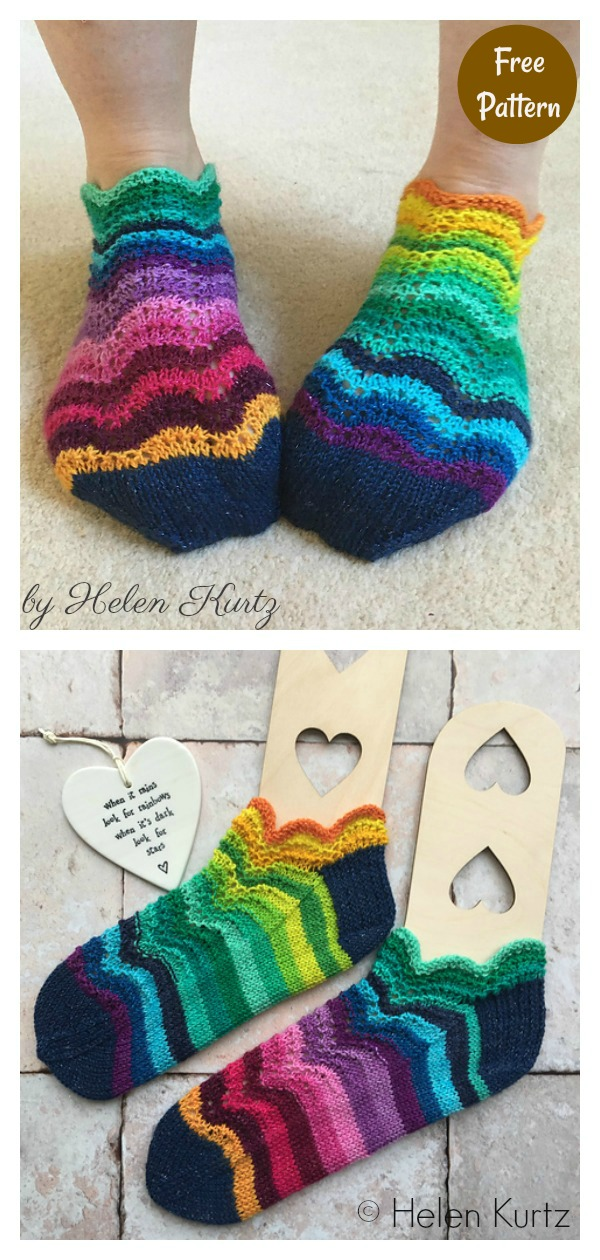 Rainbow Ripples Trainer Socks Free Knitting Pattern