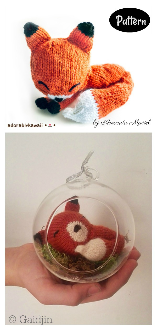 Sleepy Fox Amigurumi Knitting Pattern