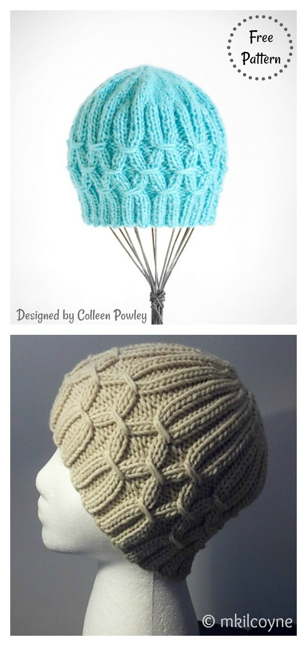 Smocking Stitch Techno Hat Free Knitting Pattern