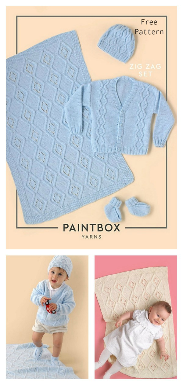 Zig Zag Baby Layette Set Free Knitting Pattern