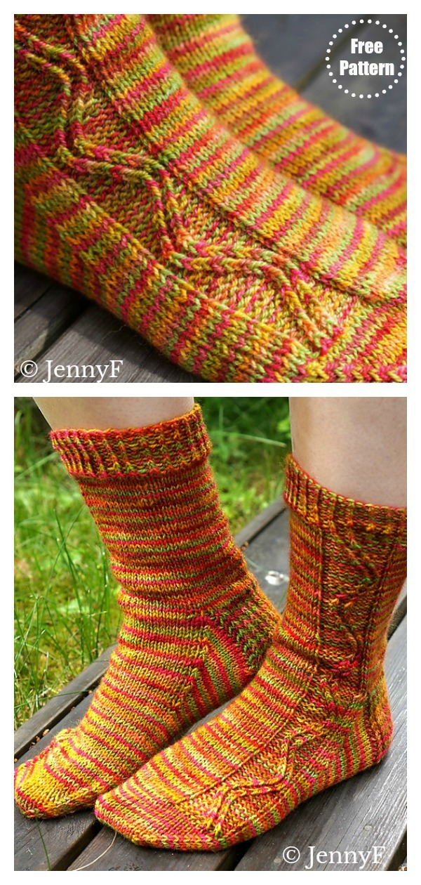 Zig Zag Socks Free Knitting Pattern