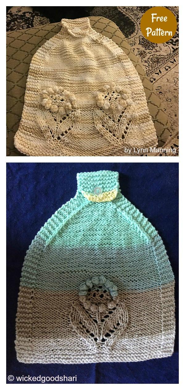 Blooming Kitchen Hanging Towel Free Knitting Pattern