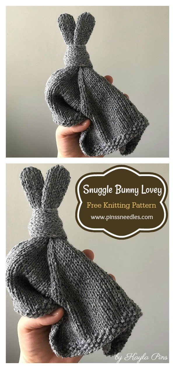 Easy Snuggle Bunny Lovey Blanket Free Knitting Pattern