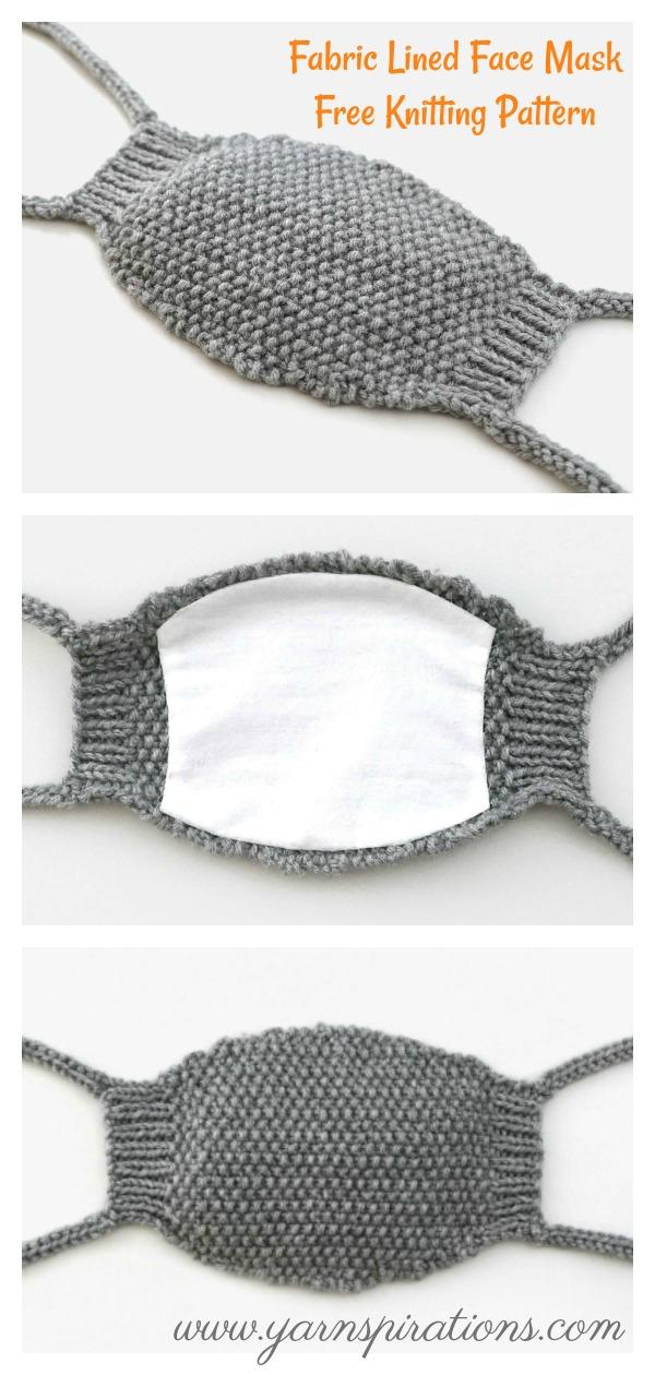 Fabric Lined Face Mask Free Knitting Pattern