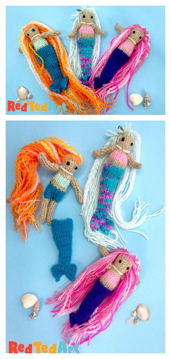 Mini Mermaid Doll Free Knitting Pattern for Beginners