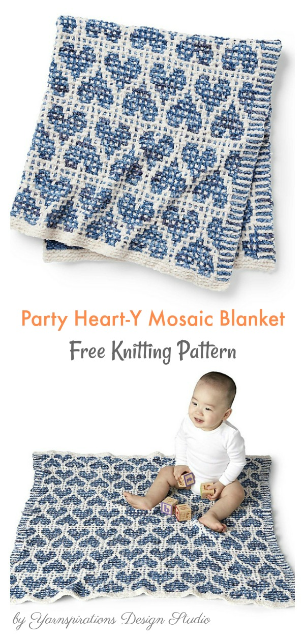 Mosaic Heart Blanket Free Knitting Pattern