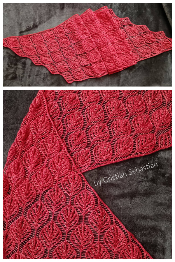 Red Leaf Vines Leaf Lace Shawl Free Knitting Pattern