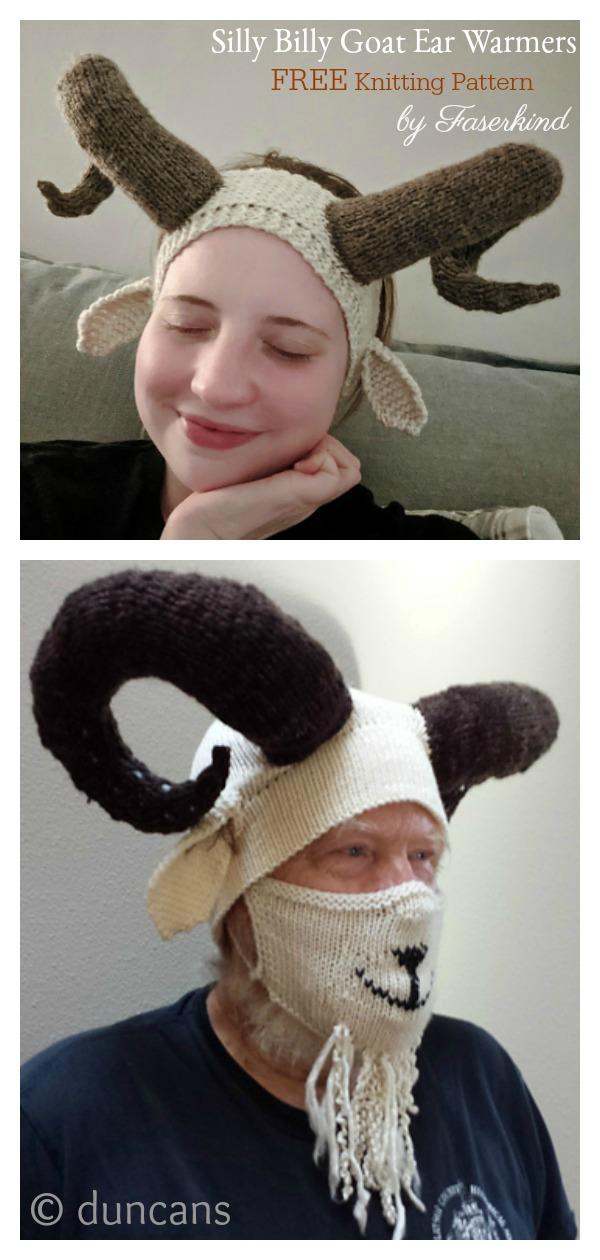 Silly Billy Goat Ear Warmers Free Knitting Pattern