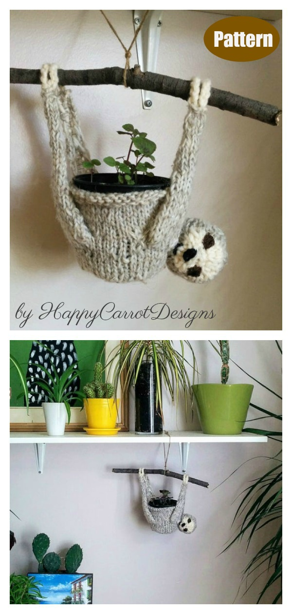 Sylvia the Sloth Plant Hanger Knitting Pattern