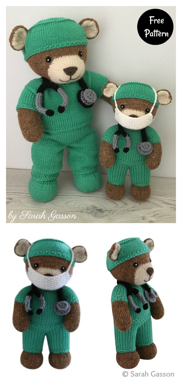Thank You Teddy Free Knitting Pattern