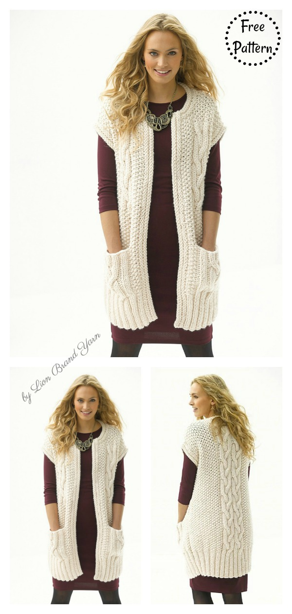Cabled Topper with Pockets Vest Free Knitting Pattern
