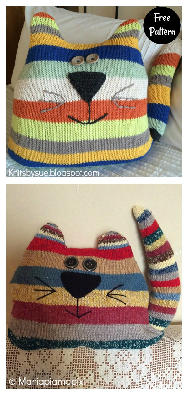 Cat Cushion Free Knitting Pattern