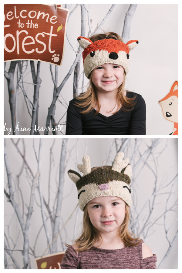 Clever Fox and Wild Deer Headbands Free Knitting Pattern