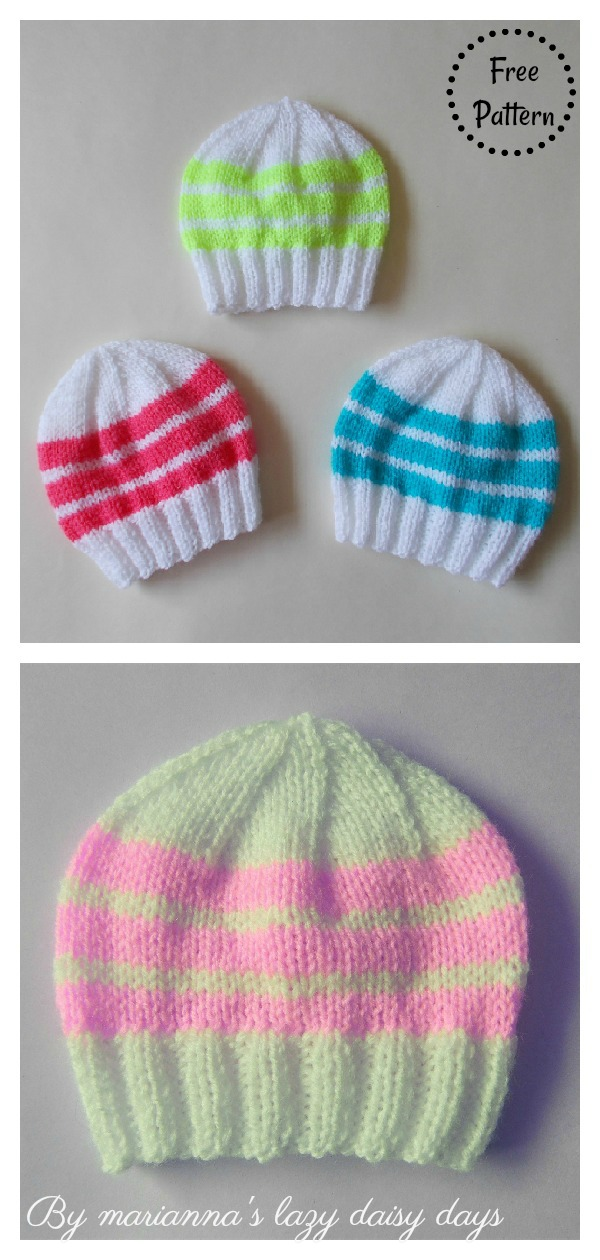 Easy Bright Stripes Newborn Baby Hat Free Knitting Pattern