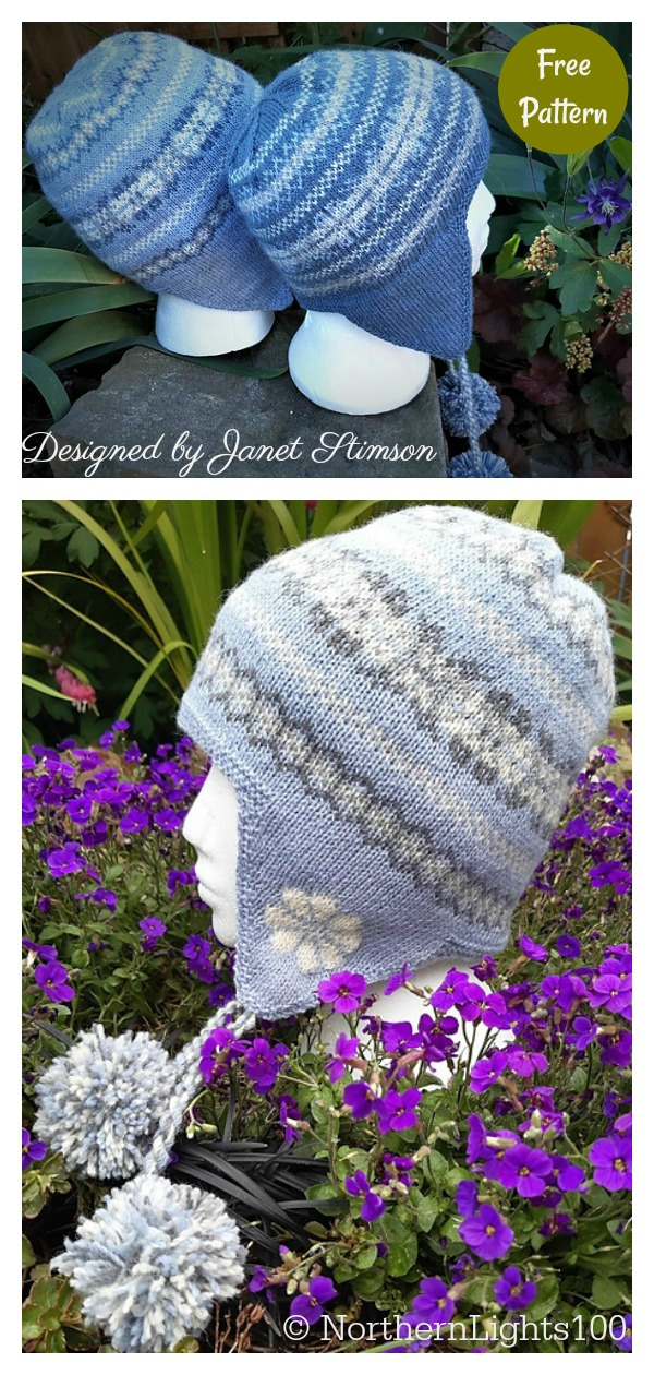 Fair Isle Earflap Hat Free Knitting Pattern