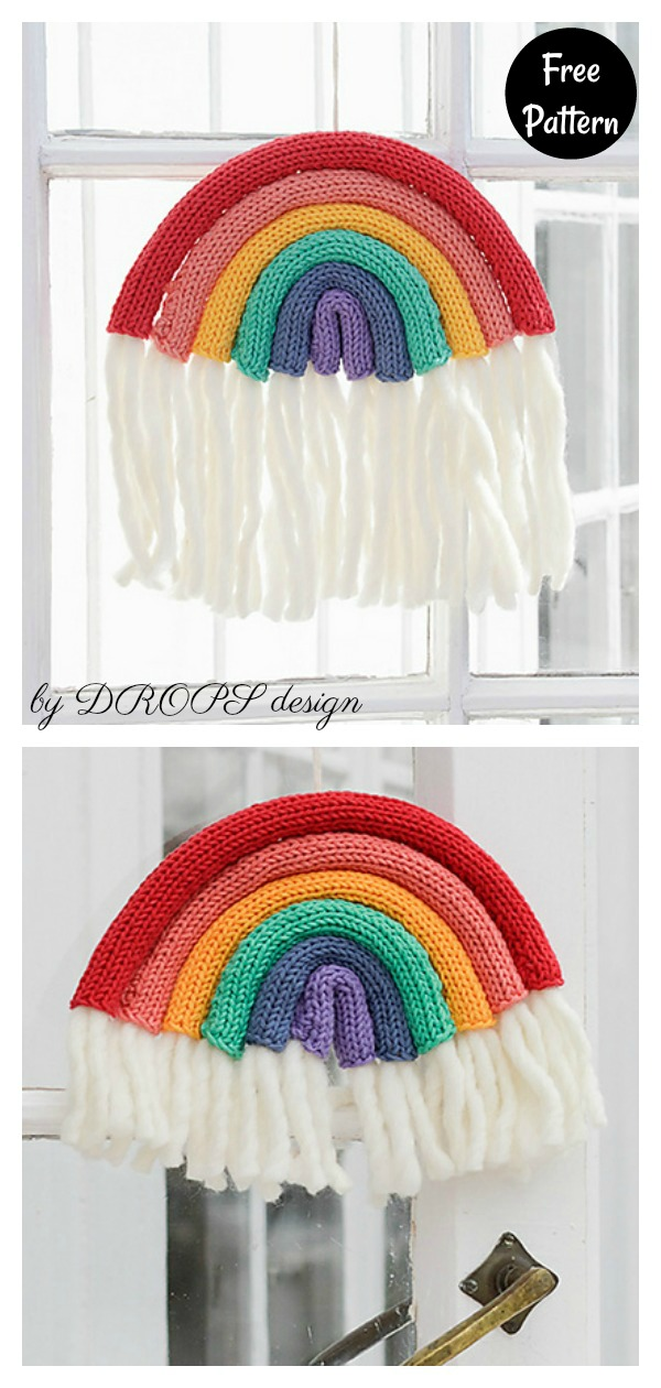 Floating Rainbow Window Decoration Free Knitting Pattern