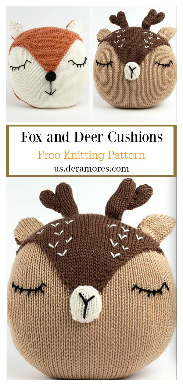 Fox and Deer Cushions Free Knitting Pattern