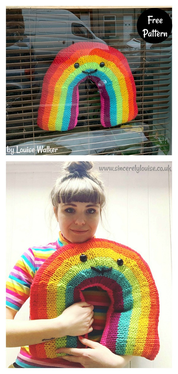 Giant Smiley Rainbow Window Decoration Free Knitting Pattern