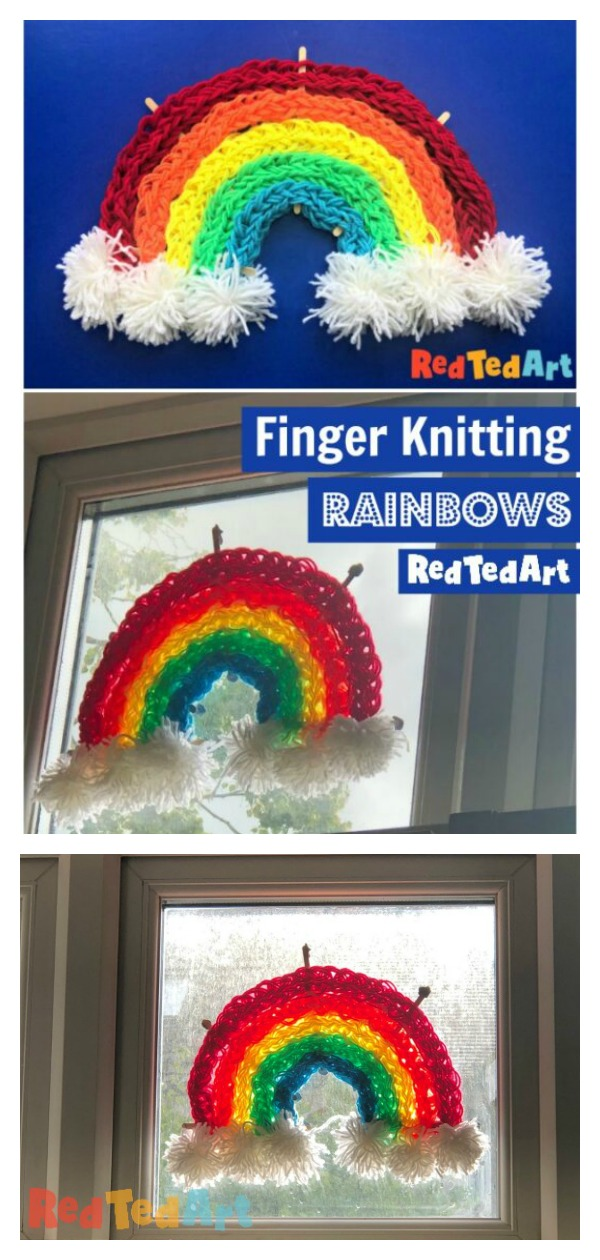 How to Finger Knit a Rainbow Window Decoration Video Tutorial