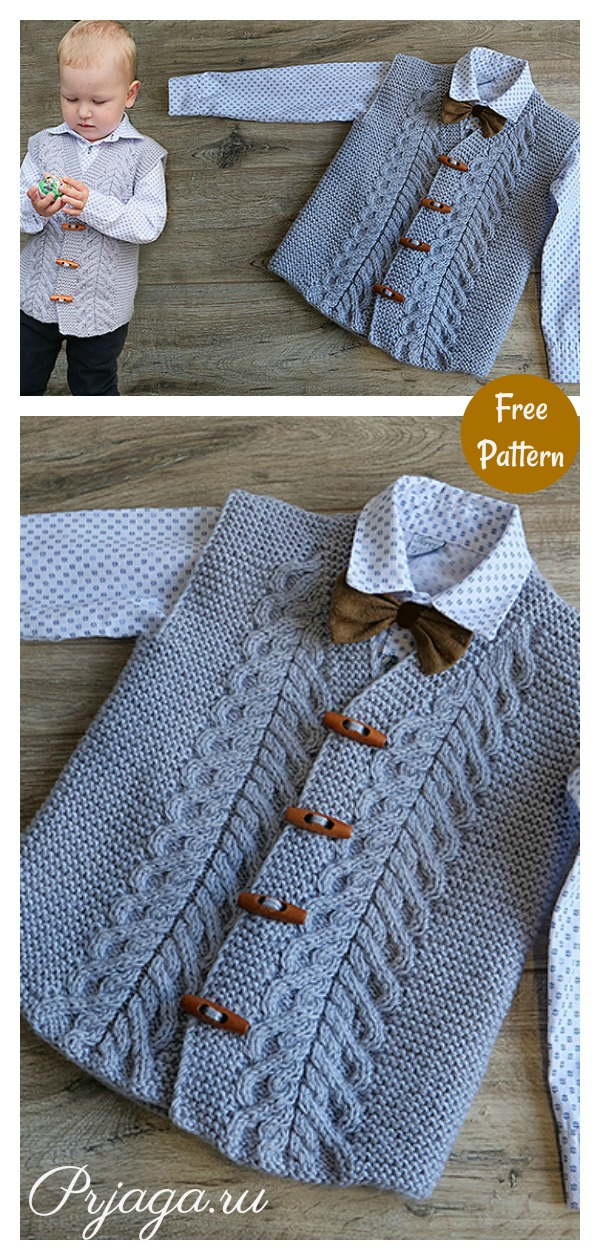Child Cable Vest Free Knitting Pattern