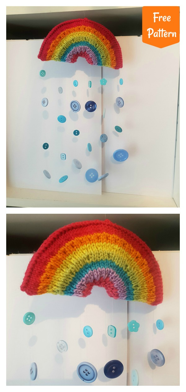 One Piece Rainbow Hanger Window Decoration Free Knitting Pattern