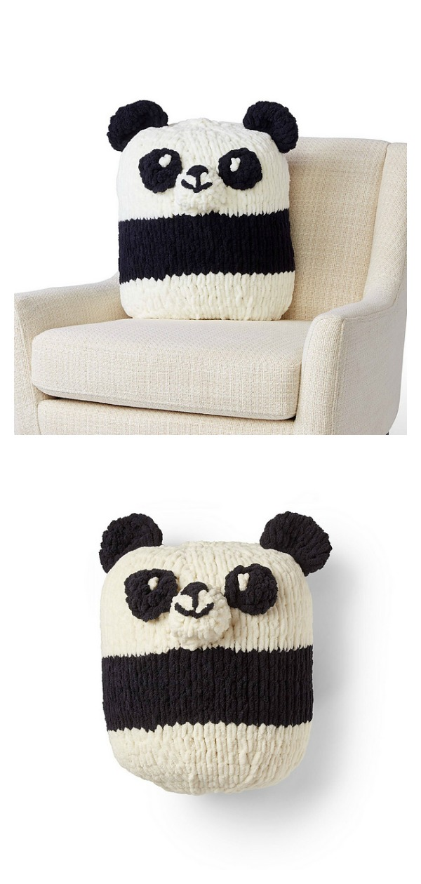 Panda Pillow Free Knitting Pattern
