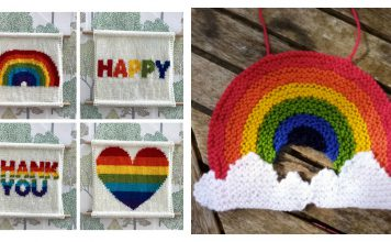 Rainbow Decoration Free Knitting Pattern