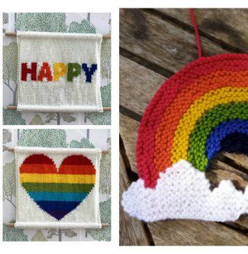 Rainbow Decoration Free Knitting Pattern