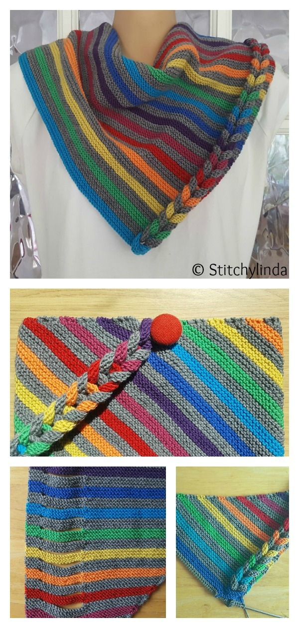 Rainbow Faux Braid Neck Warmer Free Knitting Pattern