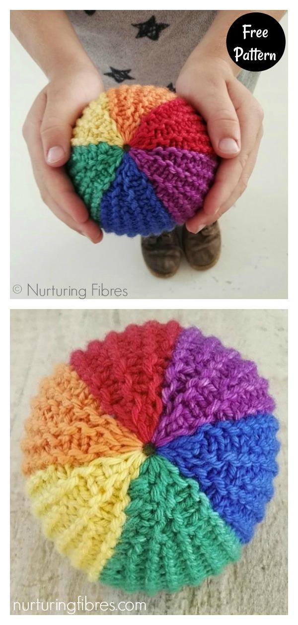 Rainbow Soft Playing Ball Free Knitting Pattern