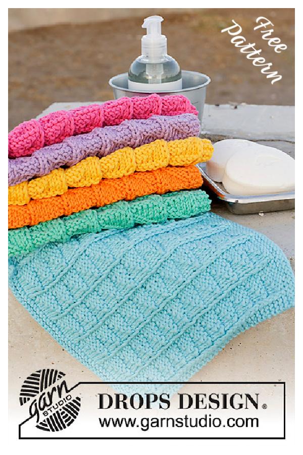 Rainbow Waffles Washcloth Free Knitting Pattern