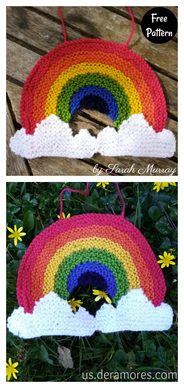 Rainbow Window Decoration Free Knitting Pattern