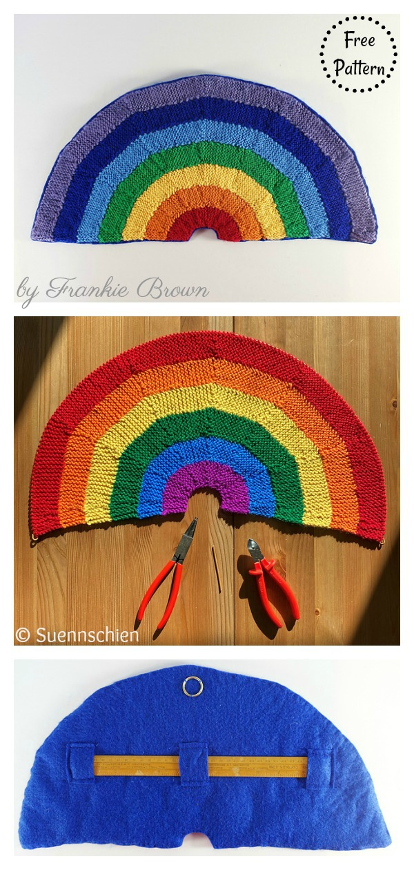 Rainbows for Hope Window Decoration Free Knitting Pattern