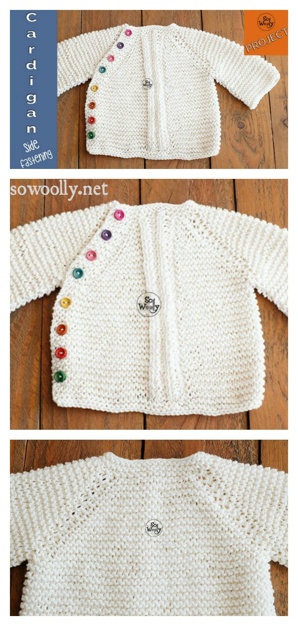 Round Neck Baby Cardigan with a Side Fastening Free Knitting Pattern