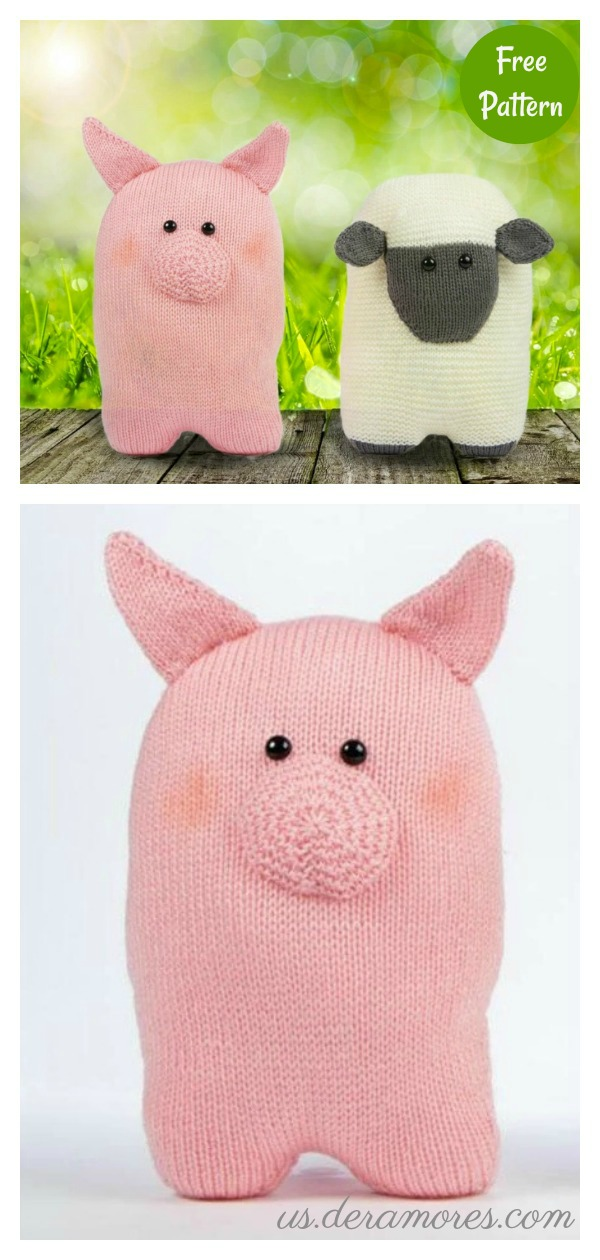 Sheep and Pig Cushions Free Knitting Pattern