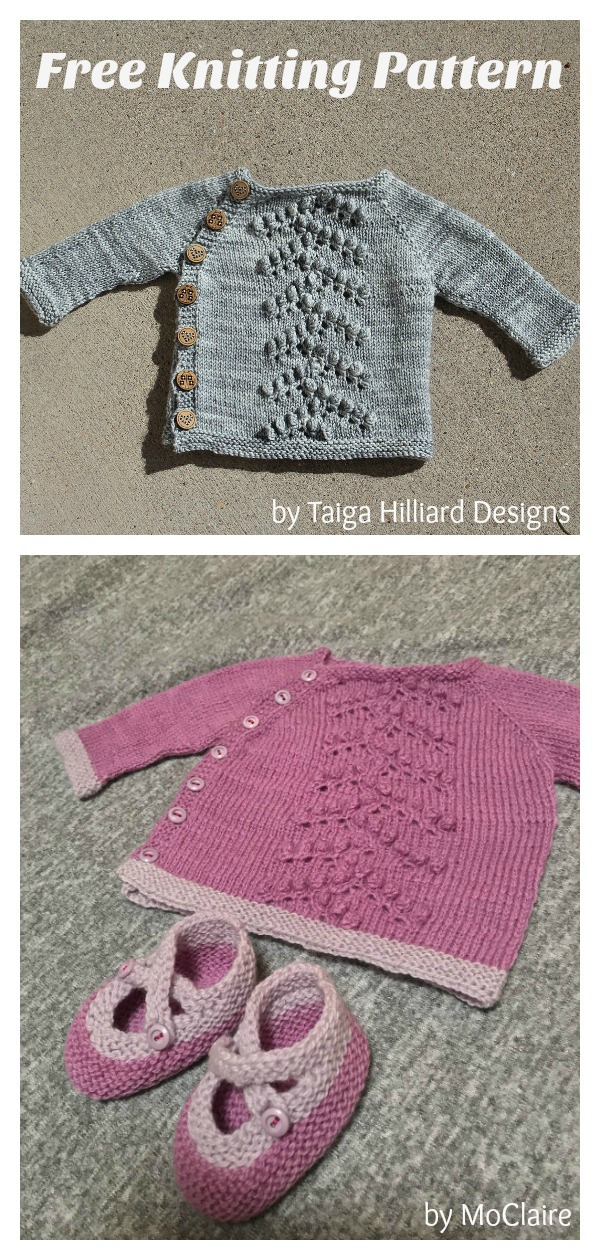 Side Buttons Wee Bobbled Cardigan Free Knitting Pattern