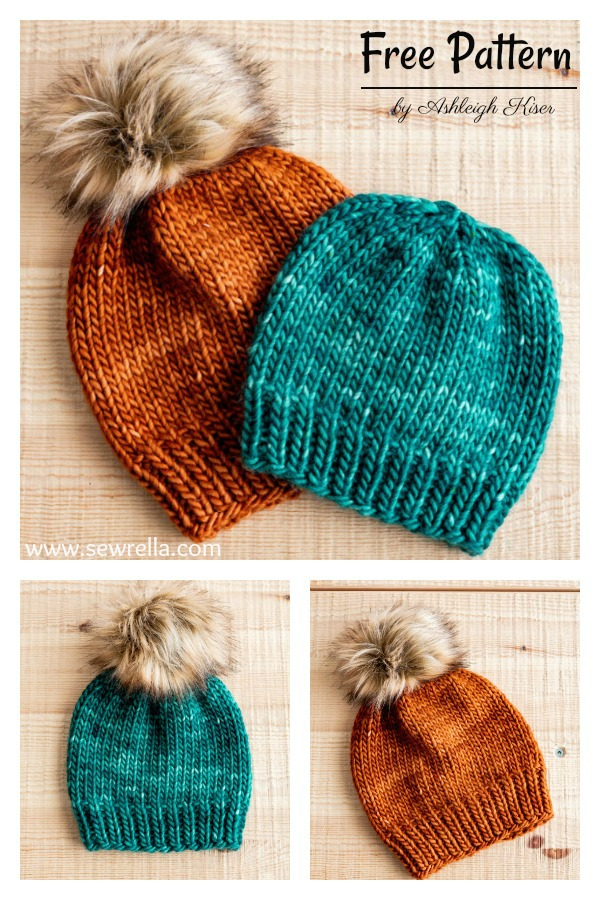 Simple Classic Super Bulky Hat Free Knitting Pattern