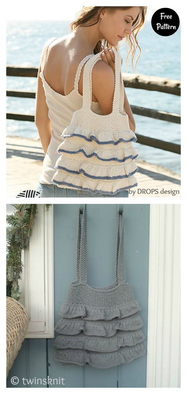 Simple Slouchy Tote Bag with Flounces Free Knitting Pattern