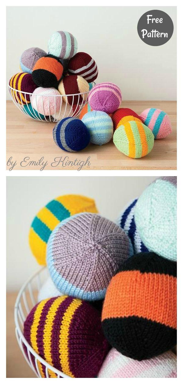 Striped Soft Playing Ball Free Knitting Pattern