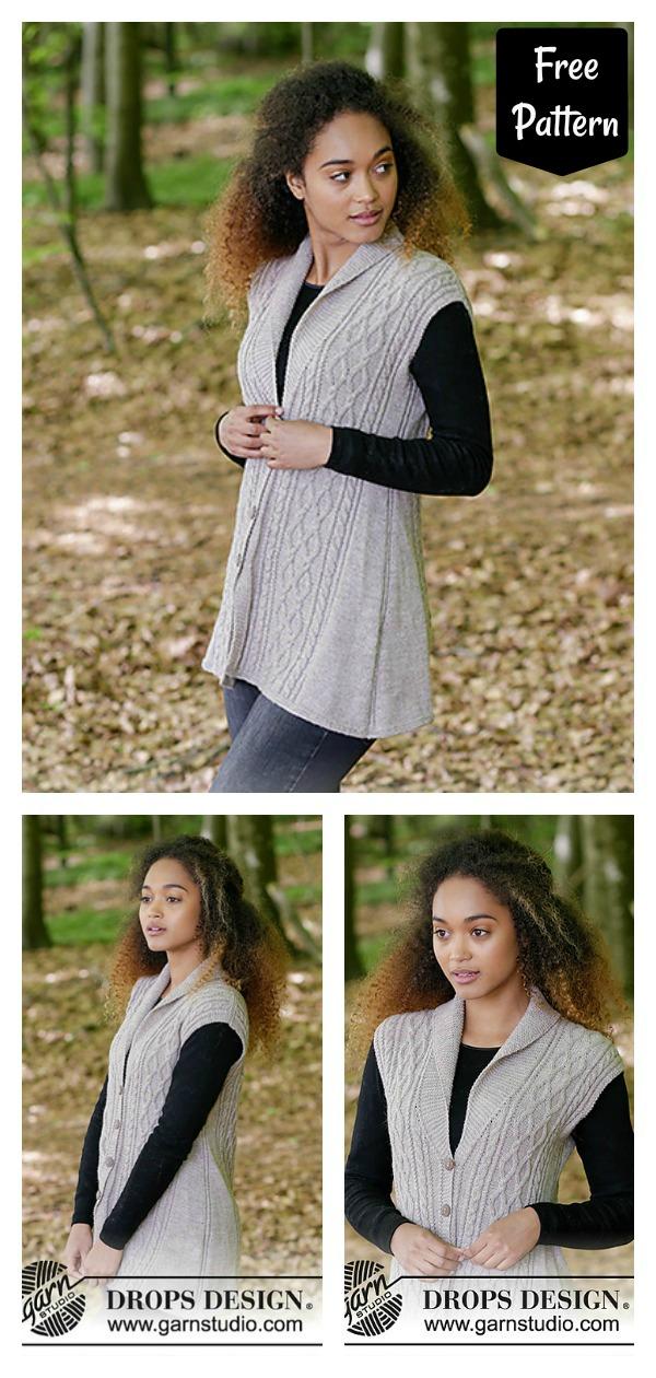 Stylish Cable Collar Vest Free Knitting Pattern