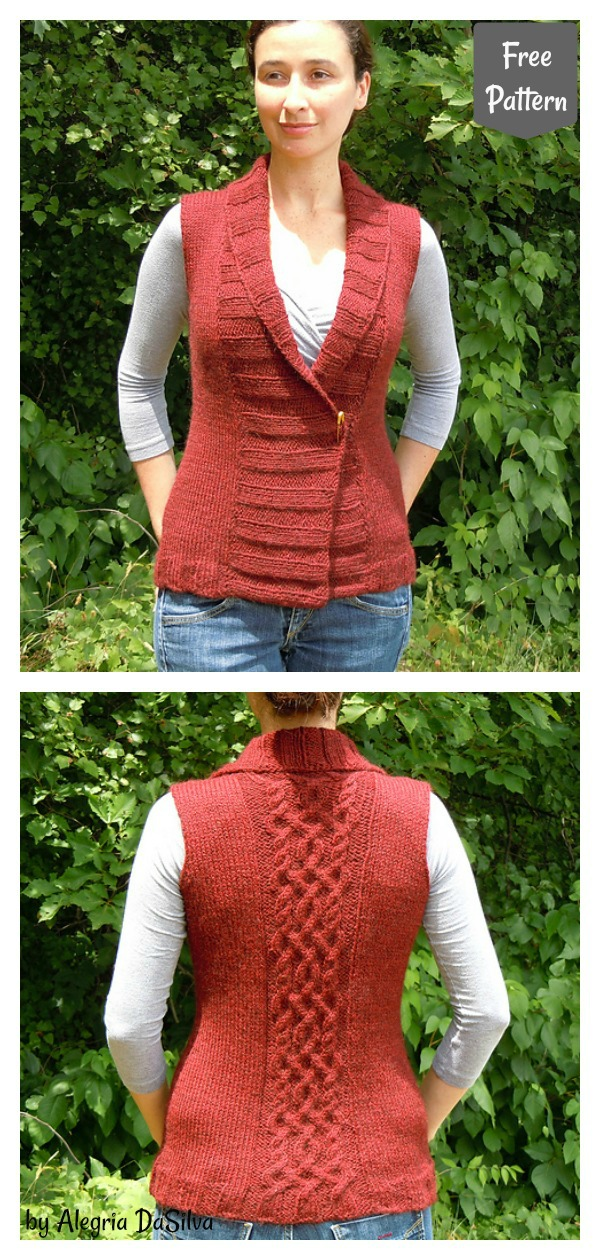 Stylish Shawl Collar Vest Free Knitting Pattern