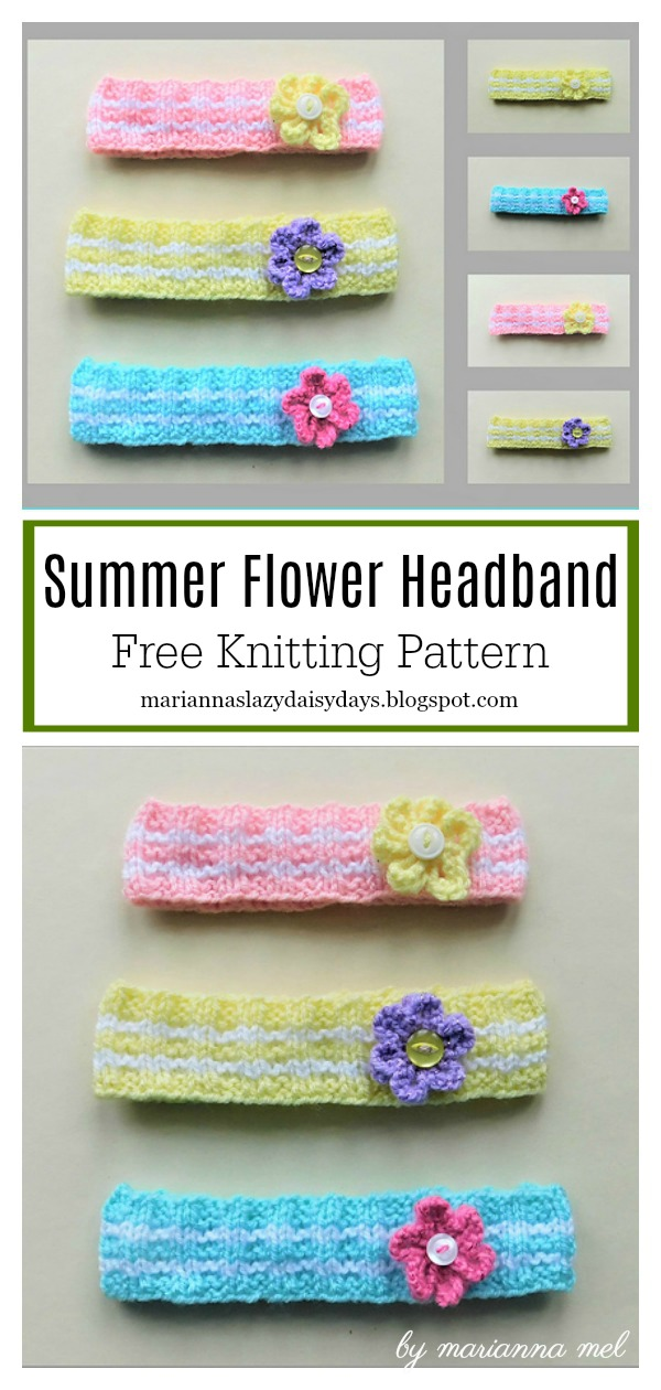 Summer Flower Headband Free Knitting Pattern