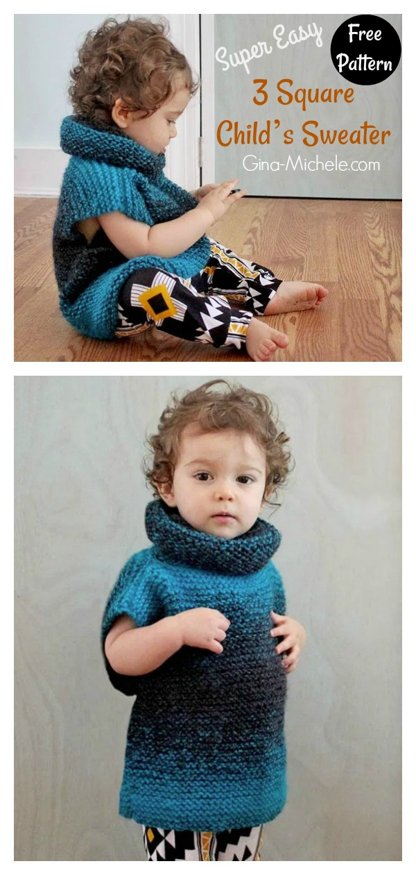 Super Easy 3 Square Child's Sweater Free Knitting Pattern