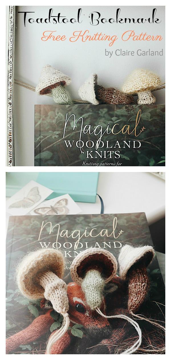 Toadstool Bookmark Free Knitting Pattern